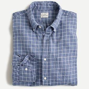 J crew slim cotton linen twill shirt check blue